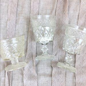 Bundle of 3 Vintage Cut Crystal Decorative Glasses